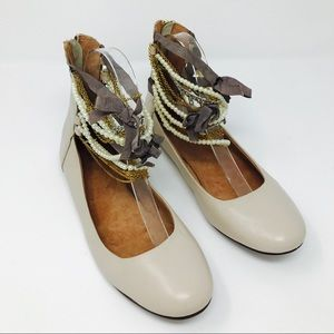 Topshop Leather Jeweled Zipper Back Ballet Flats
